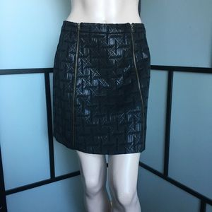 Black Duel Zipper Shiny Print A-Line Skirt